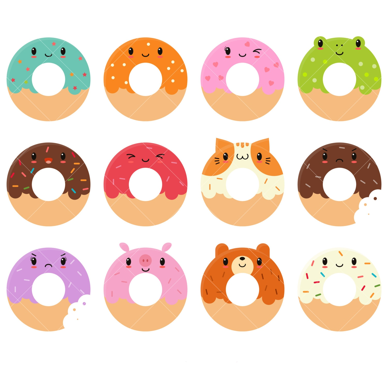 Cartoon Doughnut Factory: Kawaii Donuts Clipart / Cute Donut Clipart / Doughnuts