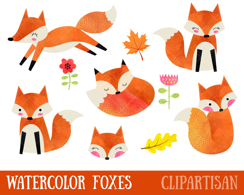 Clipart fox aquarelle adorables renards clipart aquarelle etsy - Clipart renard ...