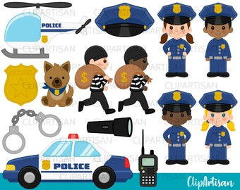 Cops Clipart, Police Officer Clip Art, Police Car, Boy Cop, Girl Cop, K9 Police Dog, Community Helper, INSTANT DOWNLOAD 0011
