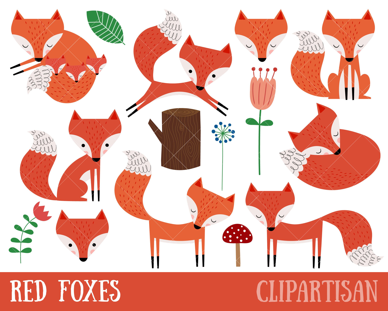 Ensemble des cliparts de renard le renard roux clip art etsy - Clipart renard ...
