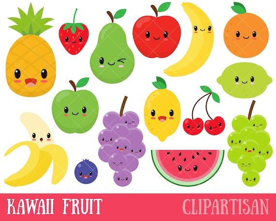 Kawaii Fruit / Cute Fruit Clipart / Happy Fruit Clip Art