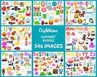 Alphabet Clip Art Bundle, ABC Letters, A to Z Graphics, Back to School, 0001