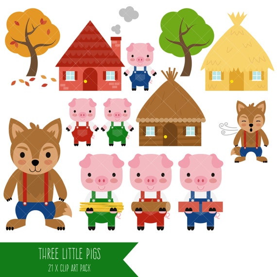 three little pigs clipart big bad wolf clip art etsy rh etsy com 3 little pigs clipart three little pigs clipart free