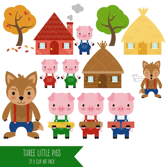 three little pigs clipart big bad wolf clip art etsy rh etsy com three little pigs clipart free 3 little pigs houses clipart
