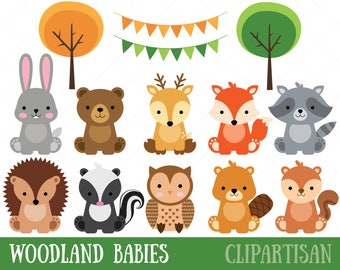 Woodland Baby Animals Clipart | Forest Animal Clipart | Woodland Baby Shower Printable