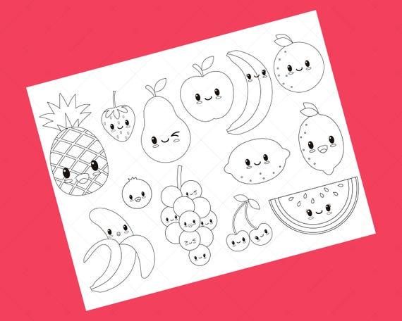 Digitalen Stempel Kawaii Früchte Vektor Grafiken Und Malvorlagen
