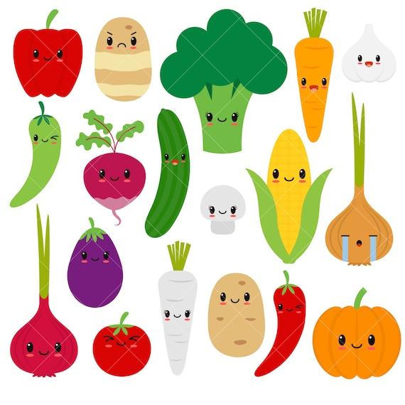 kawaii vegetables cute vegetable clipart happy veggies etsy rh etsy com vegetable clipart images vegetables clipart images