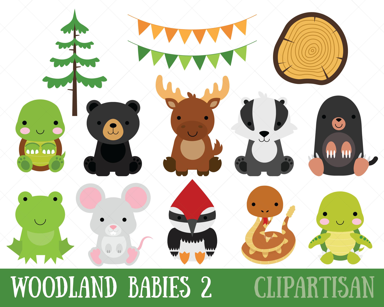 Woodland Baby Animals Clipart Set 2 | Etsy