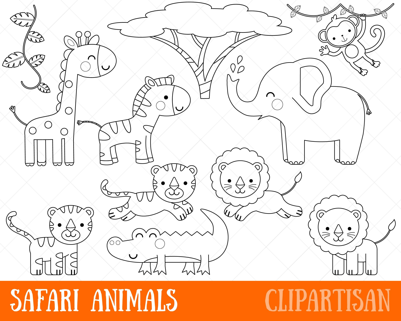 Safari Animals Clipart Digital Stamps Black and White Line ...
