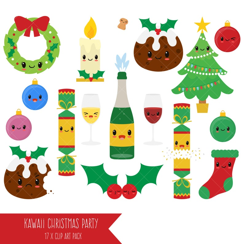 Christmas Party Pictures Clip Art.Kawaii Christmas Clipart Party Clip Art