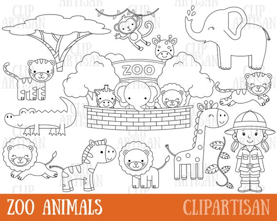 Safari Zoo Animals Clipart Digital Stamps Black And White Etsy