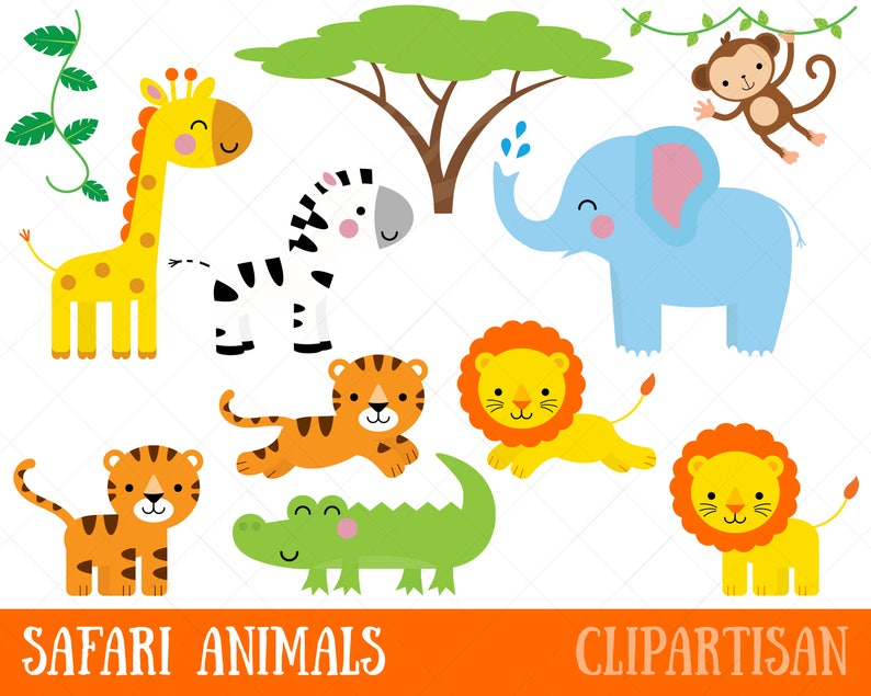 graphic about Animal Printable identified as Safari Pets Clipart / Printable Jungle Animal Clip Artwork / Monkey / Giraffe / Elephant / Crocodile / Lion / Tiger / Zebra