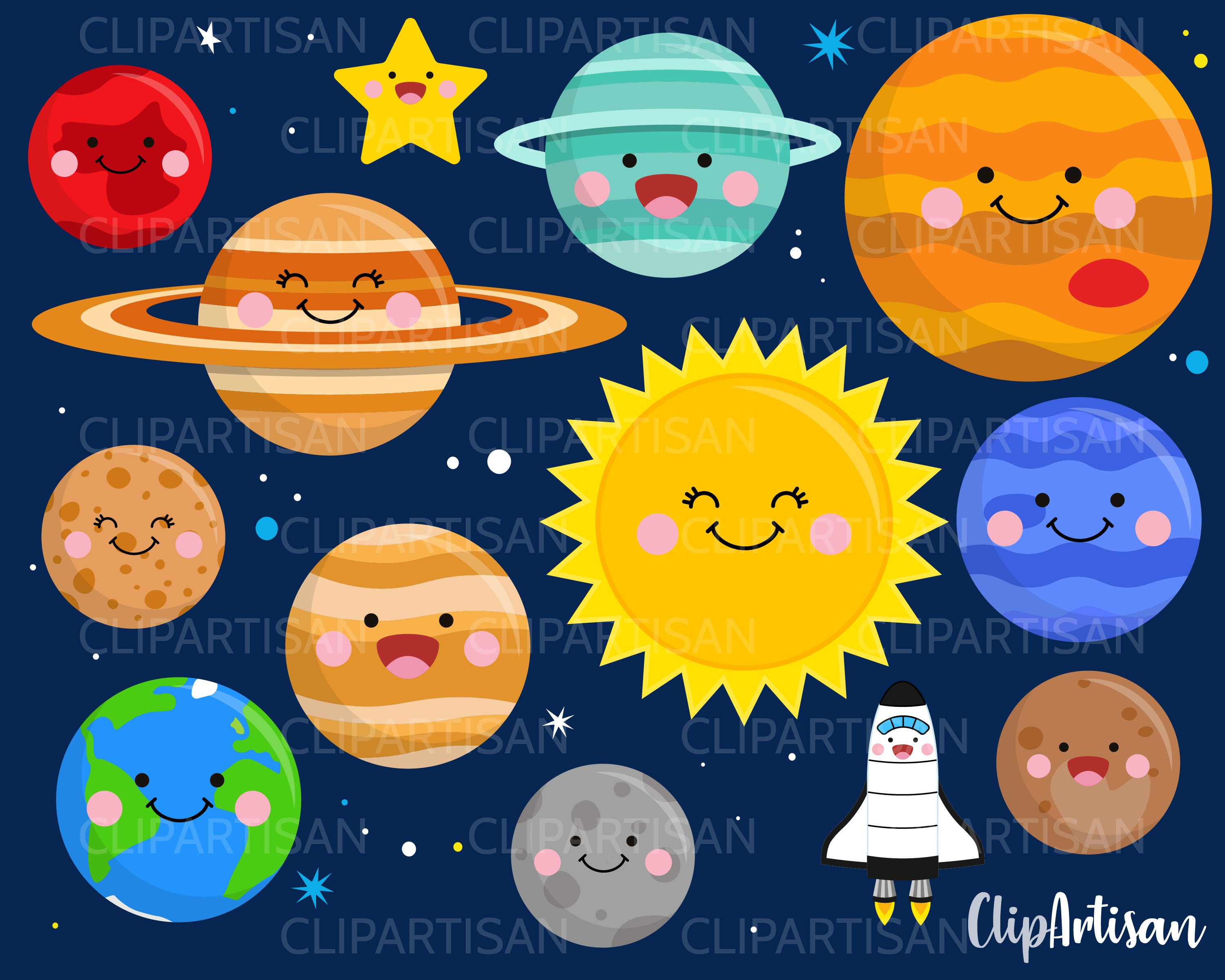Kawaii Planets Clipart Cute Planets Happy Solar System | Etsy