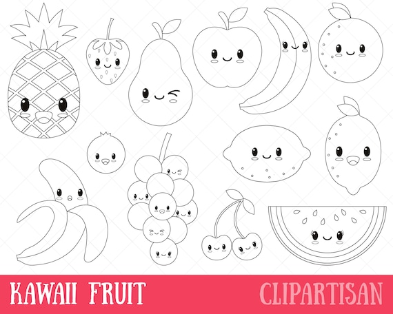 Coloriage Smiley Kawaii.Kawaii Fruit Digital Stamp Vector Graphics And Coloring Page Etsy