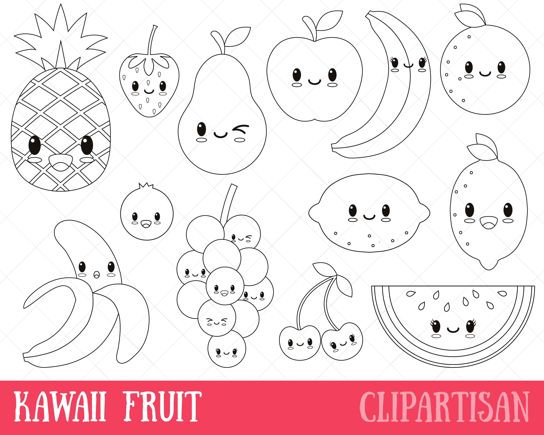 Kawaii Fruit Digital Stamp Vector Graphics and Coloring ...