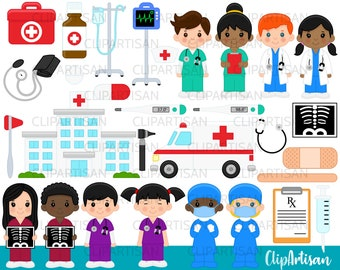 Doctor and Nurse Clipart, Hospital Clip Art, Ambulance, Cute Little Doctors Clip Art, First Aid, INSTANT DOWNLOAD 0009