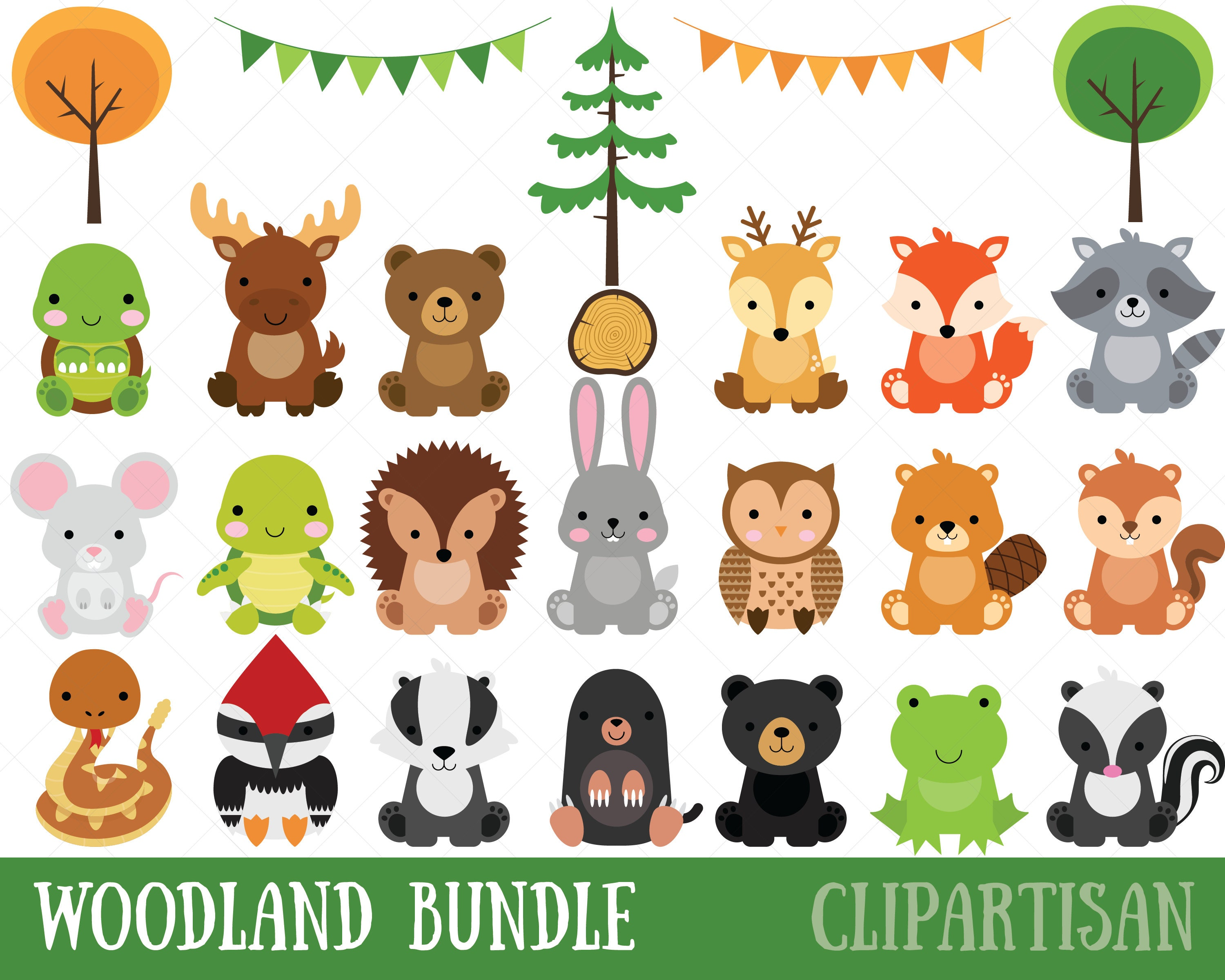 Woodland Baby Animals Clipart Forest Animal Clipart Etsy