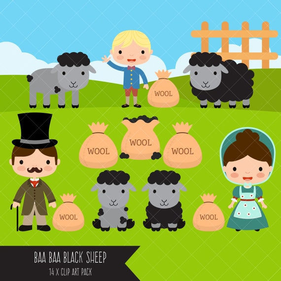 Baa Baa Black Sheep Clipart Nursery Rhyme Clip Art Etsy