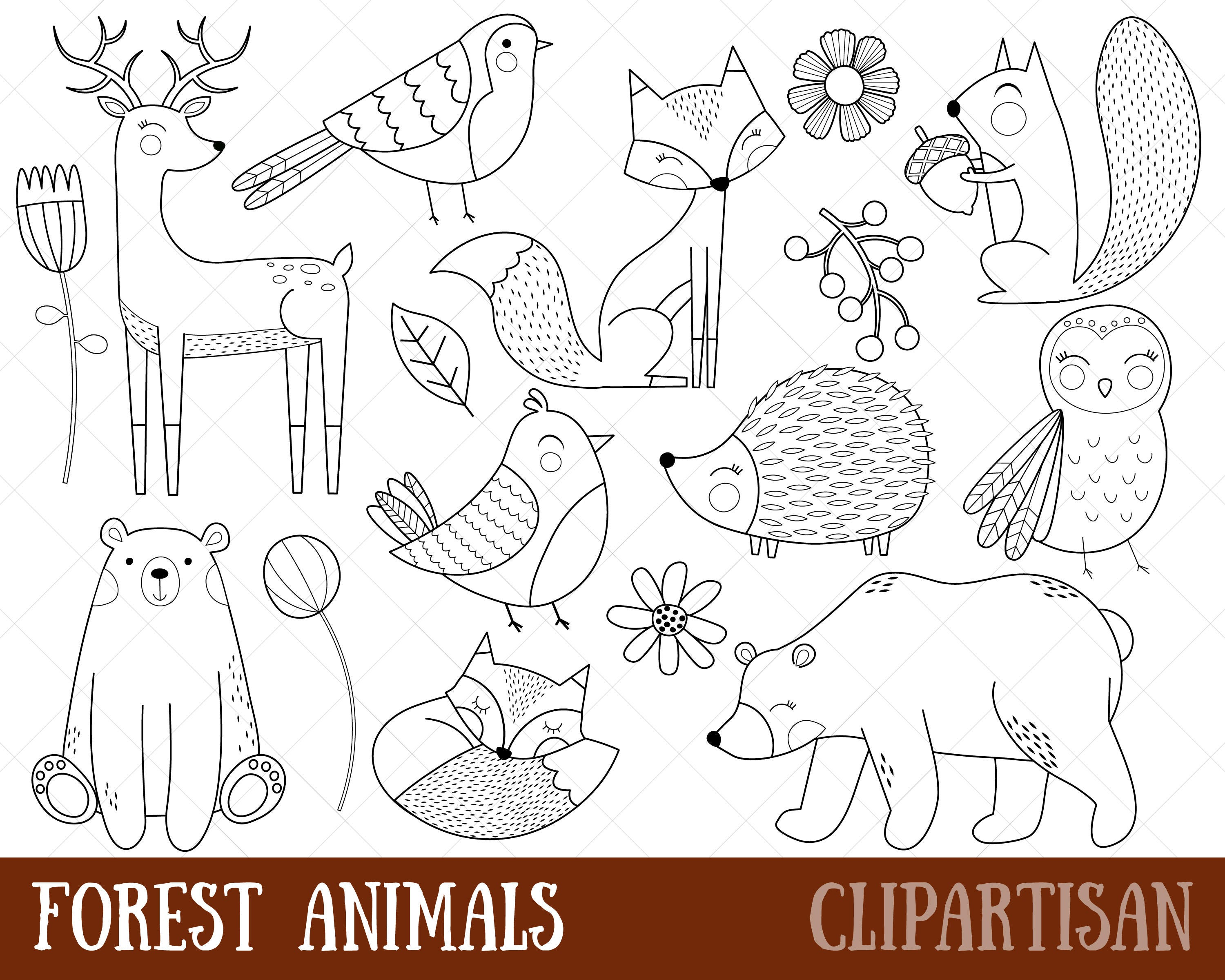 Woodland Animals Clipart Digital Stamps Black And White Line