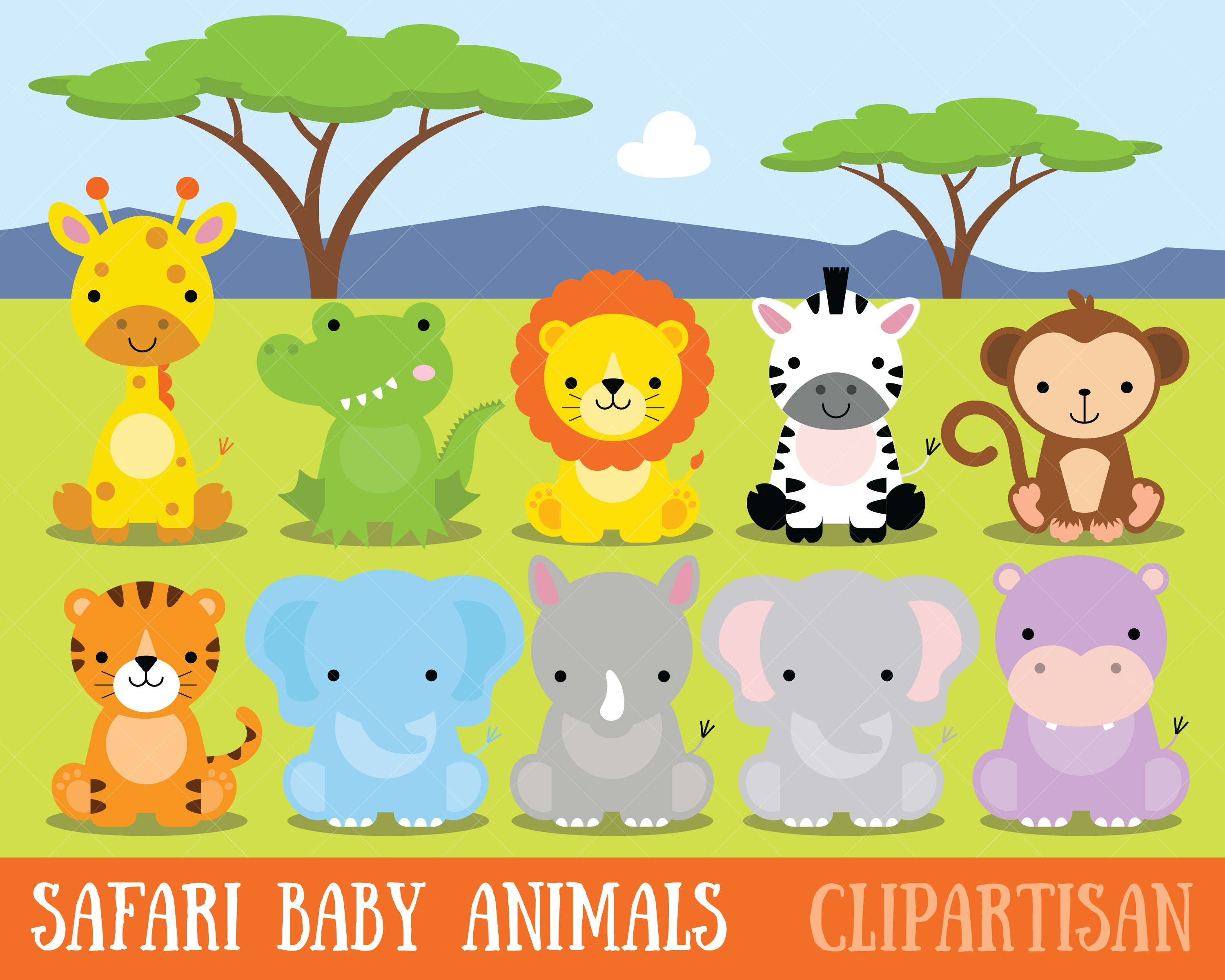 safari baby animals clipart jungle animals clipart zoo etsy rh etsy com zoo animal clipart free zoo animals clip art black and white