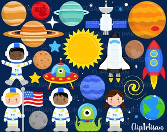 Space Clipart, Astronauts, Aliens, Planets, Rocket, Space Shuttle, Outer Space Clip Art, INSTANT DOWNLOAD