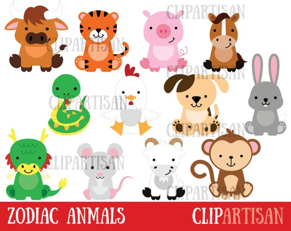 Chinese Zodiac Animals Clipart Chinese New Year Clip Art Etsy