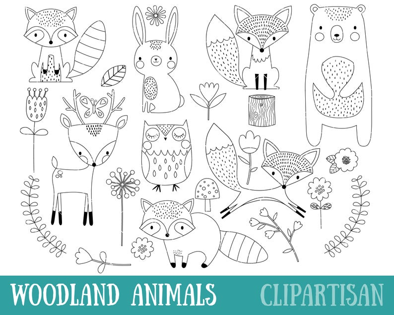 Bosques Animales Sello Digital Línea De Arte Eps Vector De Etsy