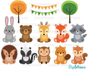 Woodland Baby Animals Clipart   Forest Animal Clipart   Woodland Baby Shower Printable
