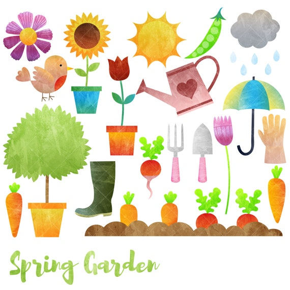 Spring Garden Clipart Gardening Clip Art Watercolor Etsy