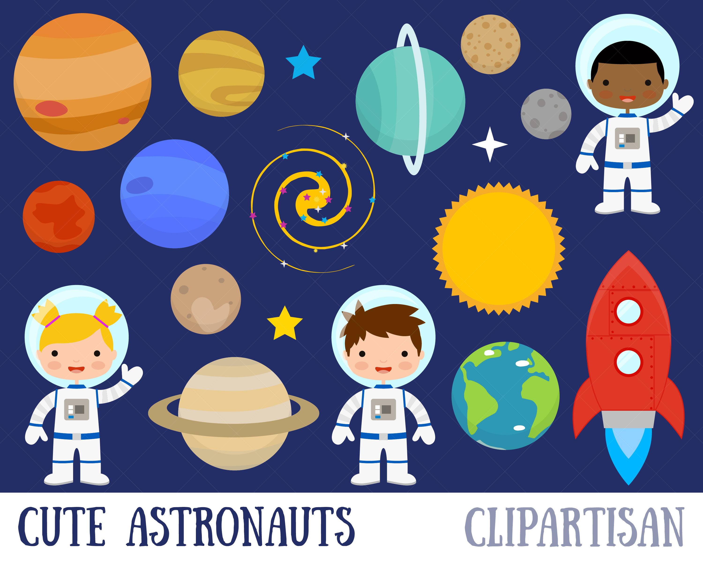 Space Clipart / Planets Clipart / Astronaut Clipart / Clip