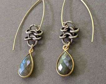 Textured gold toggle and vermeil bezel set coin amazonite add contrast to sealed oxidized silver plated chainmaille links