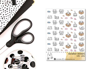 DONATION STICKERS - cats gray - Planner Sticker
