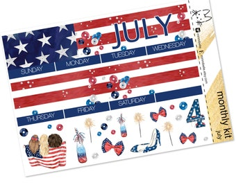 JULY - Happy 4th - Monthly Pages - Erin Condren Life Planner