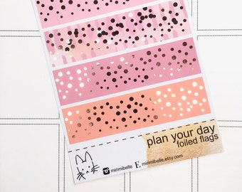 Plan Your Day - Rose Gold Foiled Flag Add-On Sticker