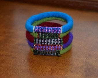 Bangle, wet felted, bracelet, beads