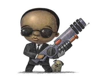 """11X14"""" Baby Man in Black suit with gun, Color Print, Signed by the artist, Will Terry"""