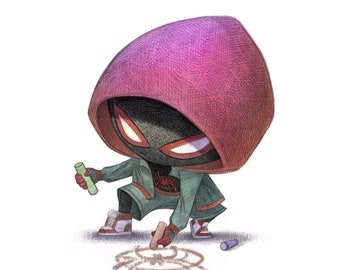 """11X14"""" Baby Mile spider dud in a hoody, Color Print, Signed by the artist, Will Terry"""