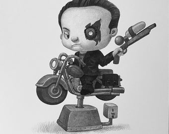 """8X10"""" Baby Terminator,  Black and whit Print, Signed by the artist, Will Terry"""