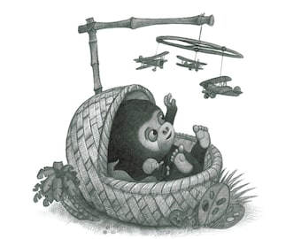 """8X10"""" Baby King Kong, black and white on paper, signed print, by Will Terry"""