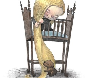 """11X14"""" Baby Rapunzel, Color Print, Signed by the artist, Will Terry"""