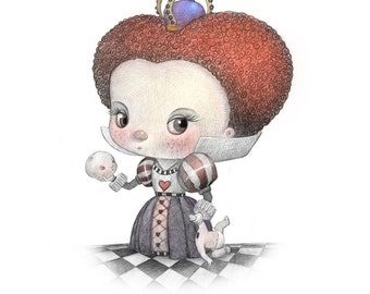 """11X14"""" Baby Queen of hearts like the one in wonderland, Color Print, Signed by the artist, Will Terry"""