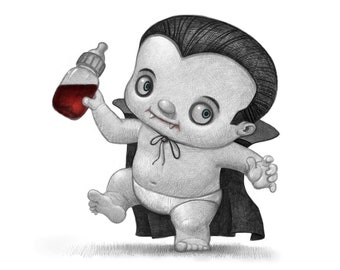 """11X14"""" Baby Dracula, Color Print, Signed by the artist, Will Terry"""