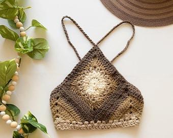 Brown Boho Crochet Top