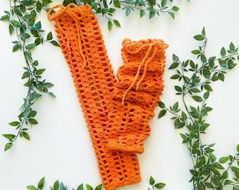 Orange Lacey Leg Warmers