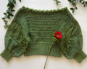 Sage Green Crochet Cropped Sweater
