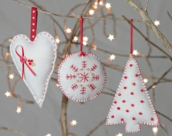 Christmas Decorations Trio - Scandinavian style -  Sewing Kit
