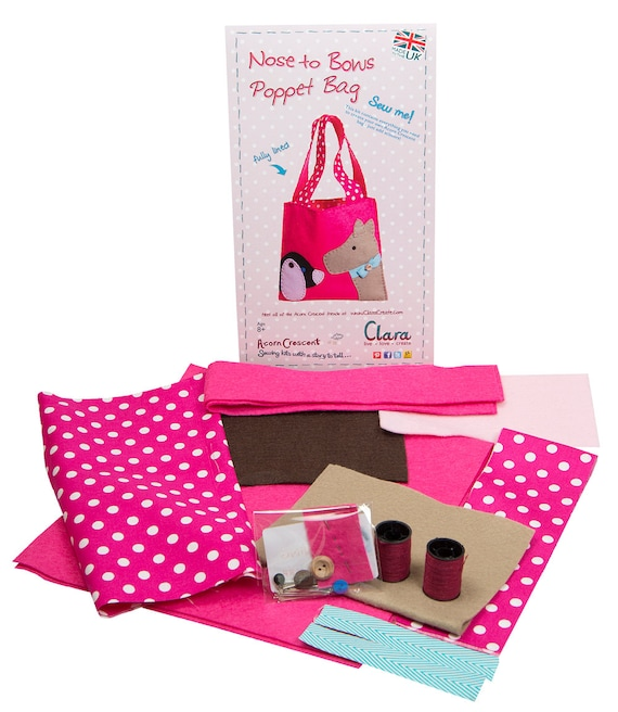 Poppet Bag Dogs Nose to Bows Kids Felt Craft Sewing Kit