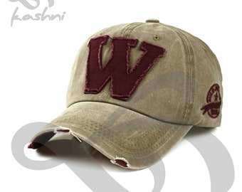 Vintage W Letter Light Coffee Baseball Cap Trucker Hat