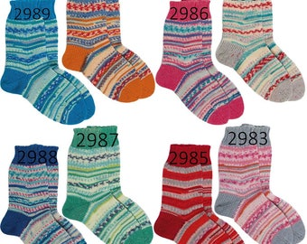 NEW!!!Regia Pairfect for Kids  4 ply 2.1 oz. /60 g Arne & Carlos. A new dimension in sock knitting. Two identical socks from 1 skein