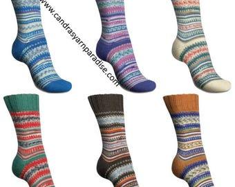 Regia Sock Yarn  Pairfect 100g  3.5 oz Design Line by Arne & Carlos. Two identical socks from 1 skein